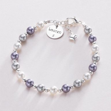 Pearl Bracelet with Engraving on Round Charm | Someone Remembered